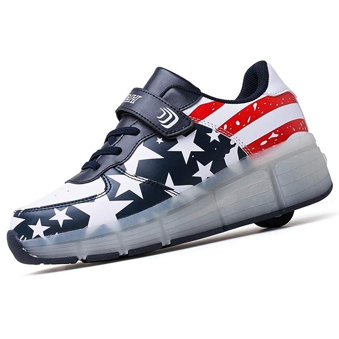 Recollect Unisex Zapatos de Ruedas Skate Led Luz Zapatillas con Ruedas Patines Deportes Zapatos para Niños/Niñas: Amazon.es: Ropa y accesorios