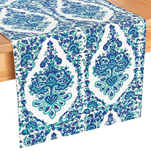 Blue & Off White Side Table Runners ( 100% Cotton, Damask Hand Block Print, 13.5x36 inch, Pack of 1) Fabric Lined | No Fray Edges | for Home, Kitchen, Dining Room, Holiday, Wedding Party Décor