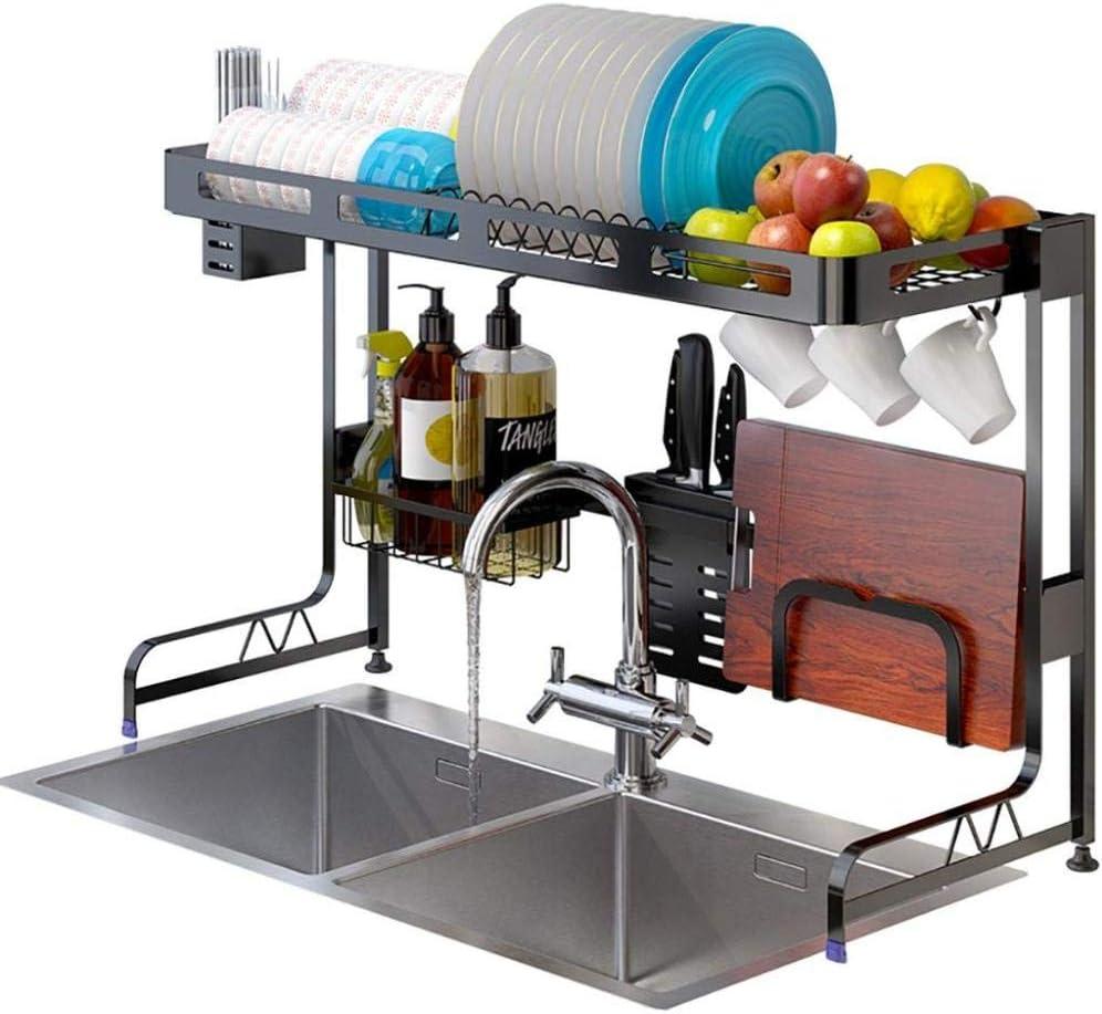 ディッシュラック、オーバーザシンクディッシュドライングラック、ブラック201ステンレス鋼キッチンドレンラック食器水切りオーガナイザー、2サイズ,85*30*52.3cm