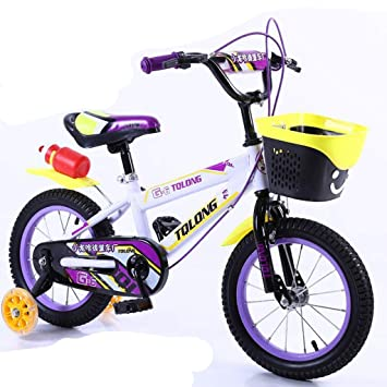 Minmin Bicicleta para niños de 4 a 8 años de Edad, niña niño con Ruedas auxiliares de 16 Pulgadas (Color : Purple): Amazon.es: Deportes y aire libre