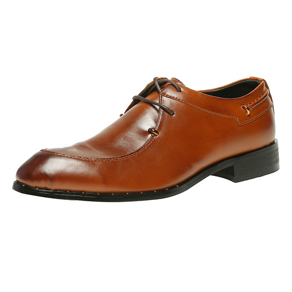 SHANGWU 2018 nuevos Zapatos de Vestir de Primavera Zapatos Pequeños Británicos Zapatos de Negocios de Hombres Zapatos de Gran Tamaño de Cuero de los Hombres XIAOQI (Color : Marrón, Tamaño : 41) 41|Marrón