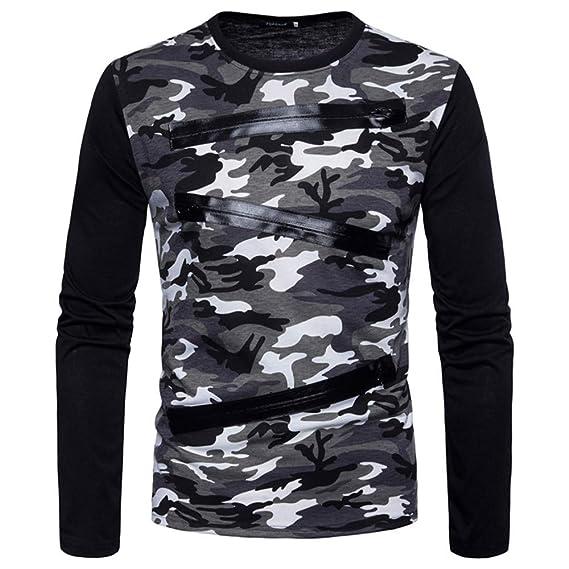 Camisetas para Hombre by BaZhaHei, Camisa de Manga Larga con Cremallera de Camuflaje para Hombre