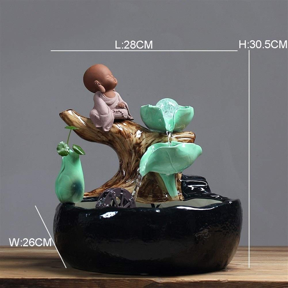 XIAOLAOBIAO Creative Gourd Fish Tank Lotus Leaf Water Fountain Ceramic Crafts Lucky Feng Shui Desktop Ornament Home Decoration Gift (Color : B) by XIAOLAOBIAO