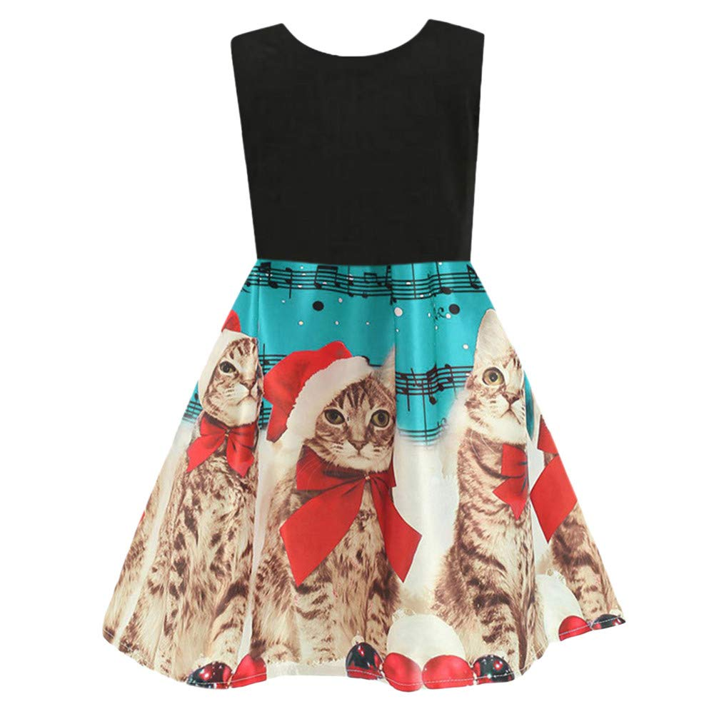Toddler Baby Girls Christmas Princess Dress Cartoon Cat Pattern Xmas Blakc Vest Kids Dress (4-5 Years, Light Blue)