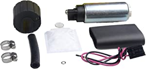 PLDDE New 255LPH High Performance GSS342 Replacement Racing Electric Gas Intank EFI Fuel Pump With Strainer/Filter + Rubber Gasket/Hose + Clamps + Universal Wiring Harness/Connector & Installation Kit