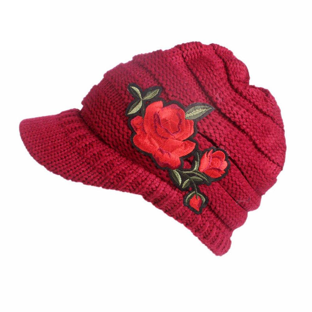 b33927bc7e8d0 URIBAKE Women s Winter Wool Knitting Hat Berets Turban Brim Crochet Ladies  Hat  Cap Pile Cap Warm at Amazon Women s Clothing store