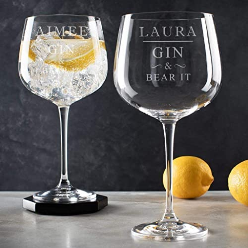 Personalised Gin Goblet Engraved Balloon Lovers Gifts For Women Funny 30th Birthday Best Friend Related