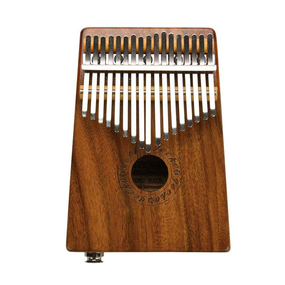 Kalimba, Portable 17 Key Mahogany Finger Piano Kalimba Thumb Piano Electric Kalimba Mbira Traditional Musical Instrument with Audio Cable Tune Hammer and Protective Box