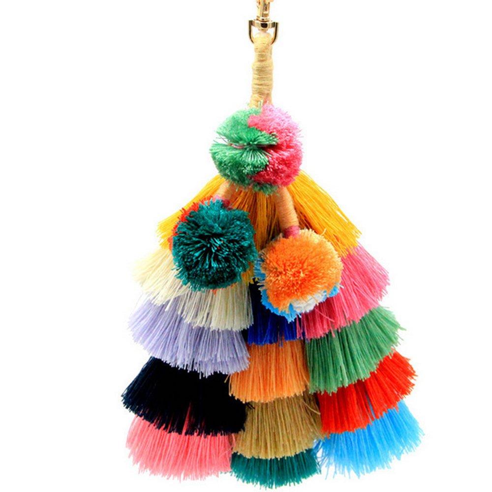 LvBo Colorful Pom Pom Tassel Handbag Charm Key Chain with Gold hook