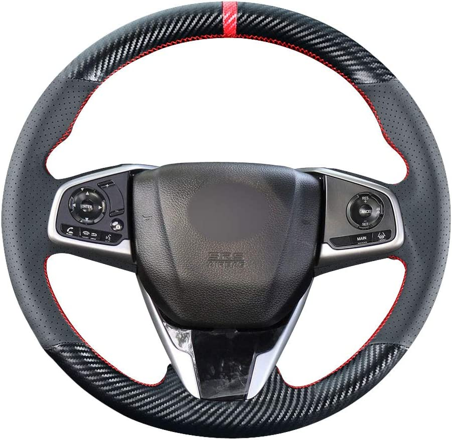 Carkooler DIY Stitching Carbon Fiber Steering Wheel Cover for 2016 2017 2018 2019 2020 Honda Civic//for 2017-/////2020 Clarity CR-V CRV SUV Black Microfiber Leather Interior Accessories