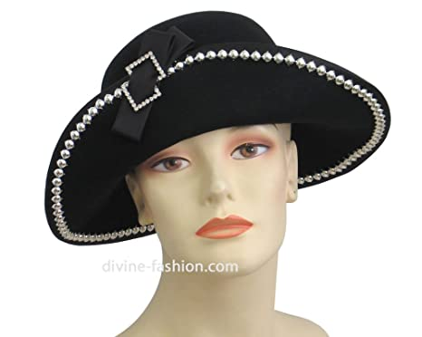 d0f5614d952 Ms Divine Women s Wool Church Hats  0108 (Black) at Amazon Women s ...