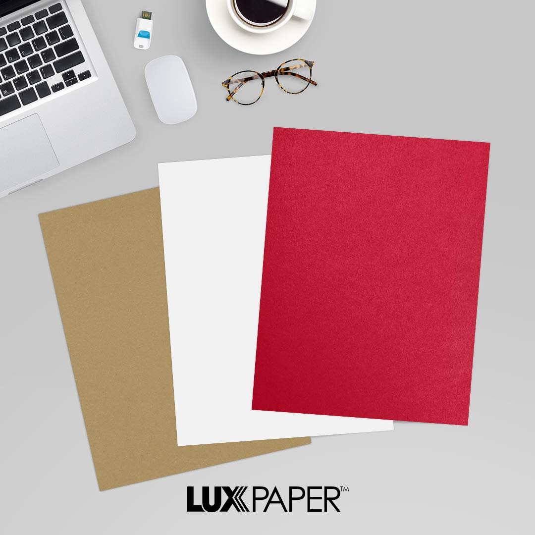 LUXPaper 8.5'' x 11'' Paper for Crafts and Printing in Jupiter Metallic, Scrapbook and Office Supplies, 50 Pack (Red) by Envelopes.com
