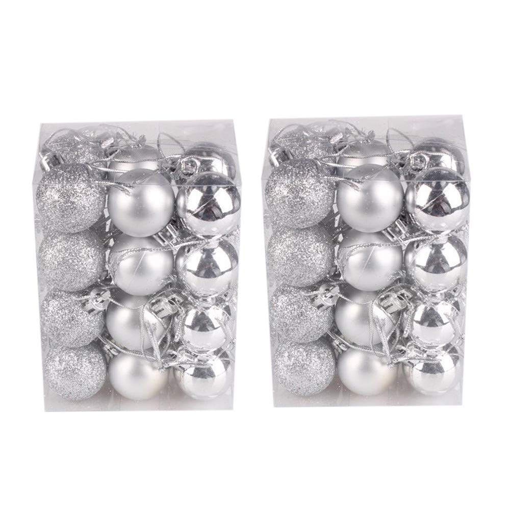 Christmas Tree Decorations Clearance,Jchen(TM) Merry Christmas 48 PCS 30mm Christmas Xmas Tree Ball Bauble Hanging Home Party Ornament Decor (Silver)