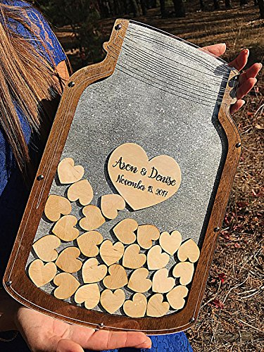 Guestbook Wedding Guest Book Alternative Mason Jar Wedding Guest Book Wedding Drop Box Guest Book heart Wedding Sign Wedding Ideas Drop Top ()