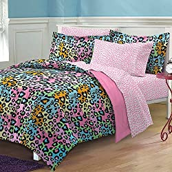 5 Piece Girls Pink Rainbow Leopard Print Comforter Twin XL Set, Colorful Wild Cat Pattern Bedding Exotic Animal Teal Blue Green Orange Vibrant Pretty Colors Safari Jungle, Polyester