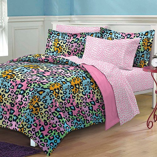7 Piece Girls Pink Rainbow Leopard Print Comforter Queen Set, Colorful Wild Cat Pattern Bedding Exotic Animal Teal Blue Green Orange Vibrant Pretty Colors Safari Jungle, Polyester by CA