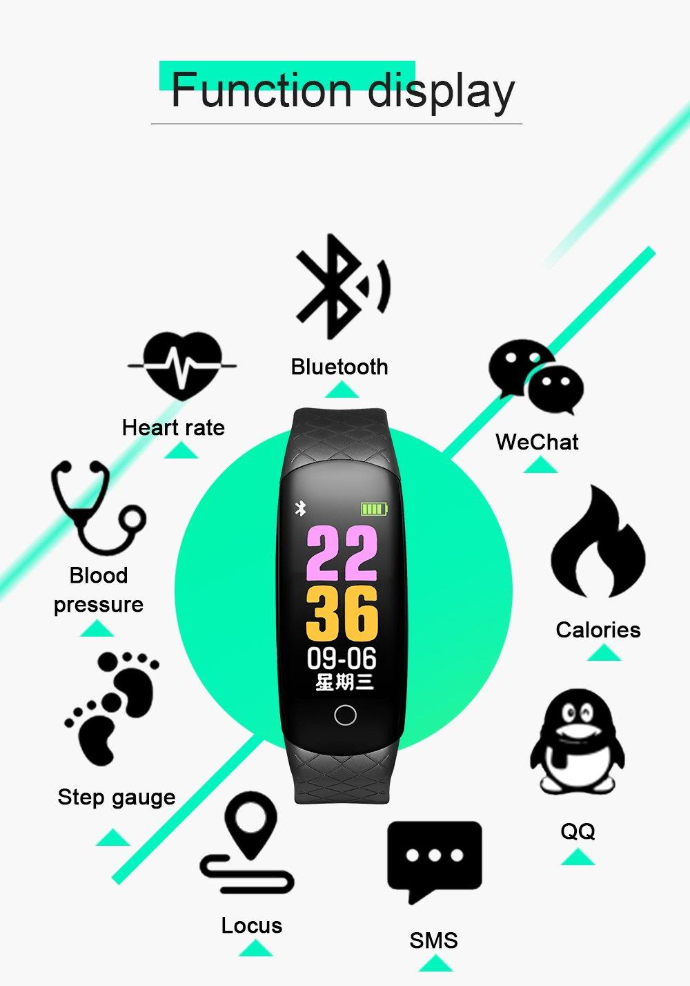 Amazon.com: Coolhills Fitness Tracker HR, IP68 Pulsera de ...