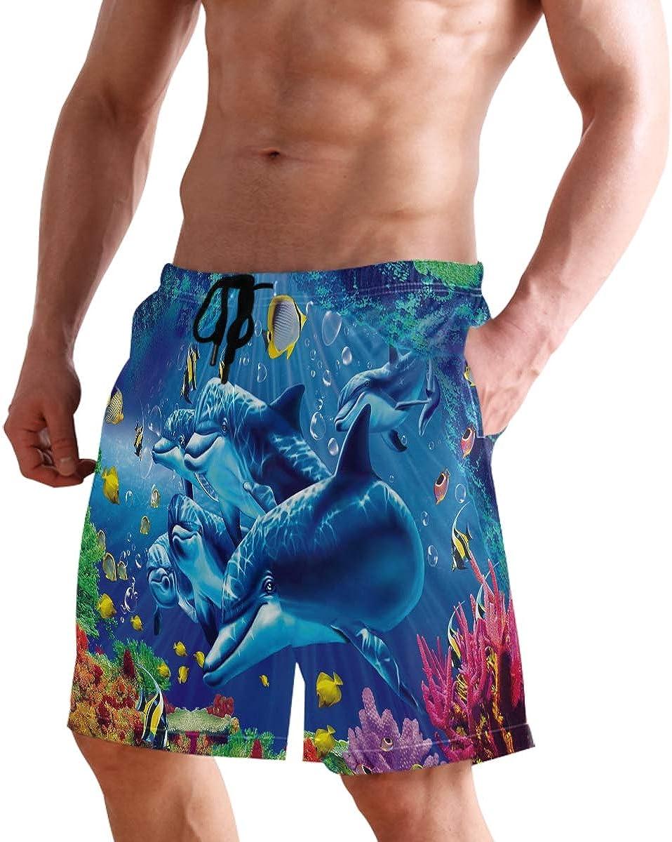 Mens Swim Trunks Quick Dry Ocean Fish Dolphin Bathing Suit Beach Shorts