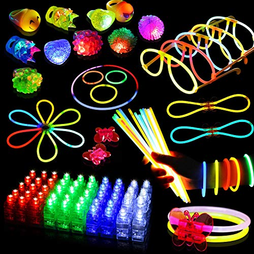 Pack of 108 LED Light Up Toys Glow in The Dark Birthday Christmas New Year Party Supplies Party Favors for Adult and Kids, 50 Glow Sticks, 48 LED Finger Lights,10 LED Flashing Bumpy Rings