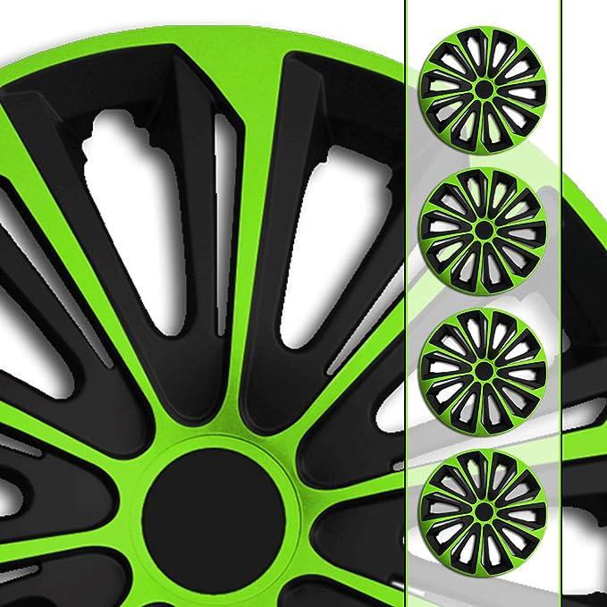 Eight Tec Handelsagentur Größe Und Farbe Wählbar 16 Zoll Radkappen Radzierblenden Str 6 GrÜn Farbe Schwarz Grün Passend Für Fast Alle Fahrzeugtypen Universell Nur Beim Radkappen König Auto