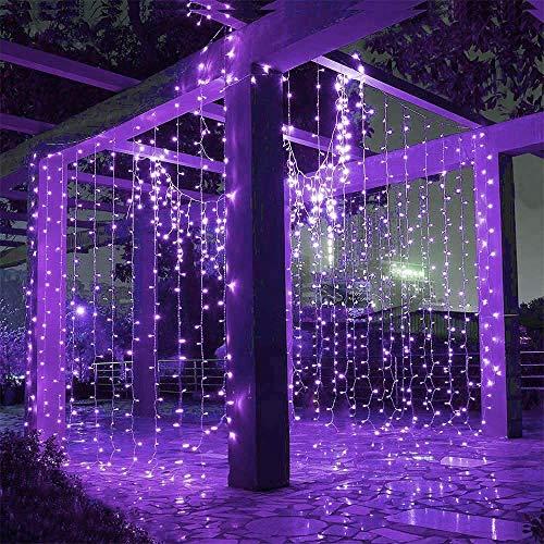 Hezbjiti 600 LED Cortina de Luces 6m x 3m, 8 Modos Cadena de Cortina de Luz, Resistente al Agua IP44 Decoración de Casa…
