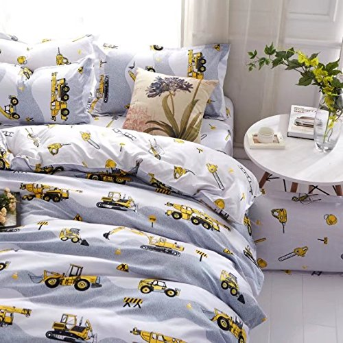 DeerHome Print Pattern Premium Full Bedding Collections With 4 Corner Ties Queen Bedding Duvet Cover Sets excavator pattern For Boys Girls (Twin, Pattern #08)