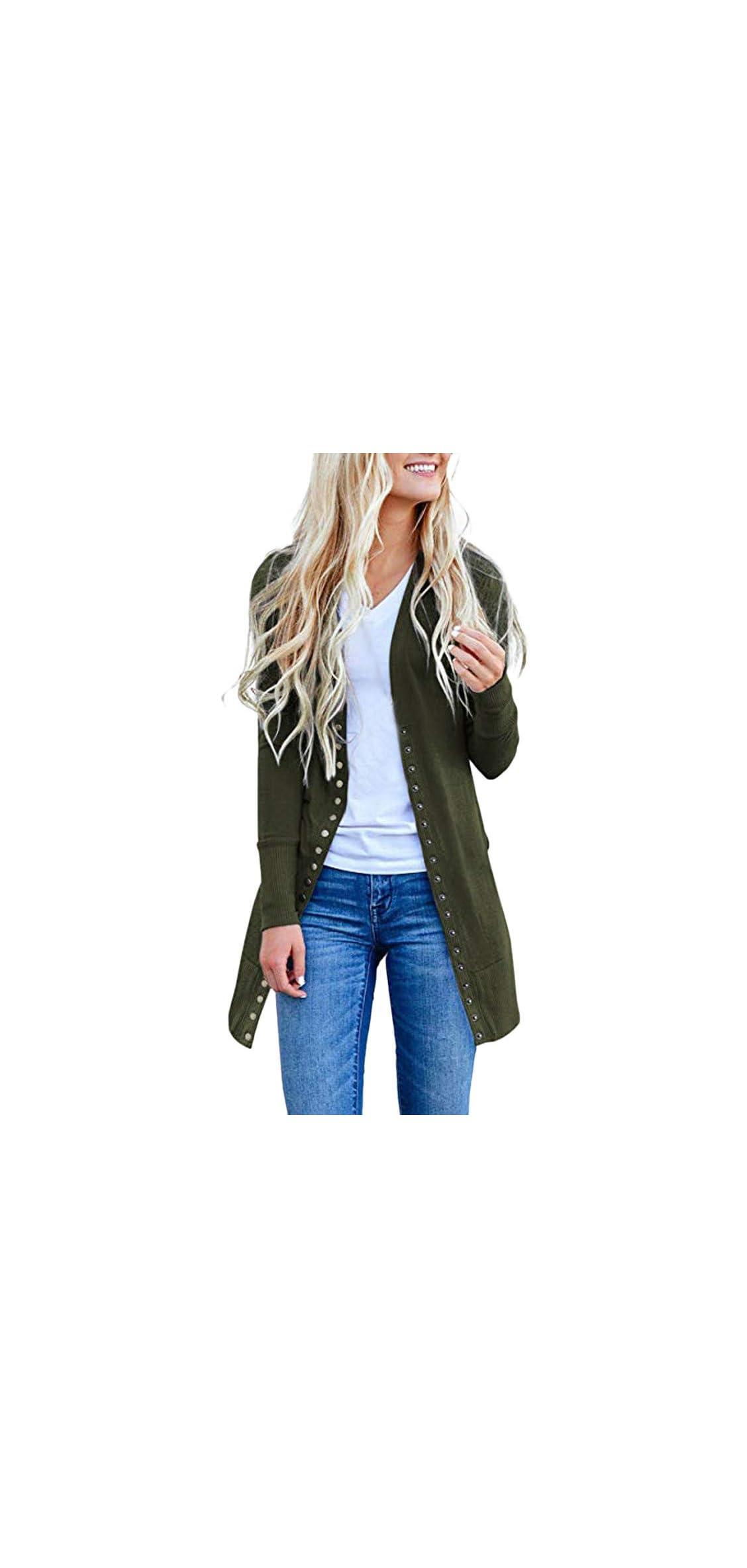Womens Long Autumn Coat Button-down Knitwear Cardigan