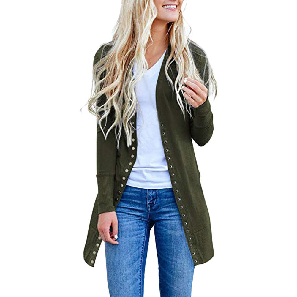 Cardigan Sweater for Women Hot Sale,deatu Clearance Ladies Open FrontButton Down Long Sleeve Cardigan Sweater Drape(Green,S)