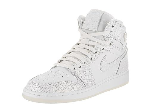 new product 33f95 a246a Jordan Bambina, Air 1 Retro High Premium GS White Pure Platinum, Pelle,  Sneakers, Bianco  Amazon.it  Scarpe e borse