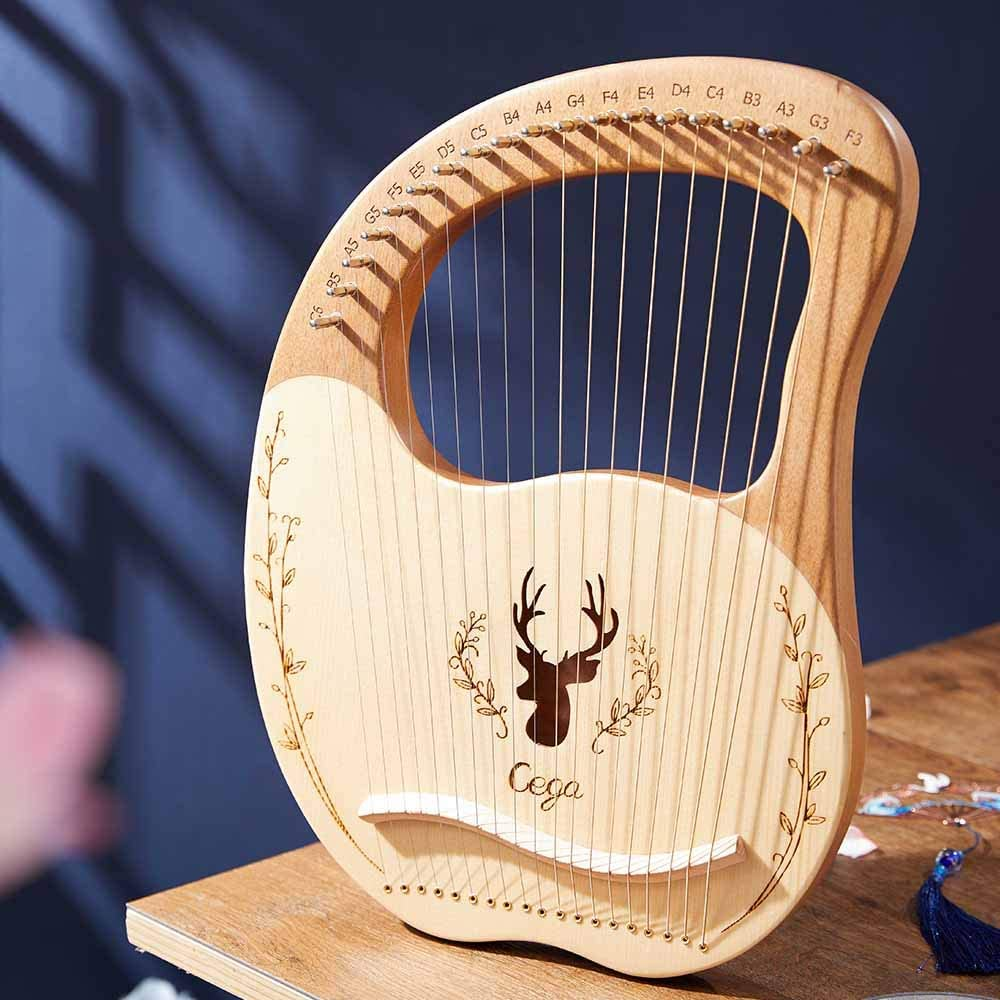 19 String Lyre Harp Lye Harp Solid Wood Mahogany with Carry Bag Unique Patterns Carved Phonetic Symbols Exquisite Carvings