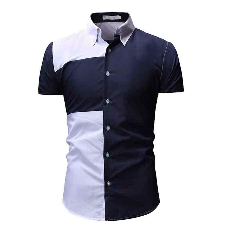 Fashion Slim Lapel Casual Tops Business Social Plus Size Men Pocket Shirt,Navy Blue,L