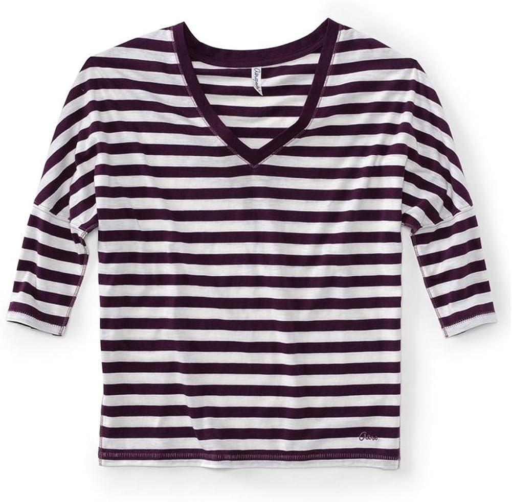 AEROPOSTALE Womens V-Neck Stripe 3//4 Sleeve Graphic T-Shirt