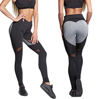 b587083f64dee6 Women's Polyester Yoga Pants/Legging, Ohwensee Women's High Waist Leggings  Full Length Mesh Patchwork Yoga Jogging Workout Pants: Amazon.in: Clothing  & ...