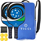 TICCI Pickleball Paddle Set 2 Premium Graphite Craft Rackets Honeycomb Core 4 Balls Ultra Cushion Grip Portable Racquet…