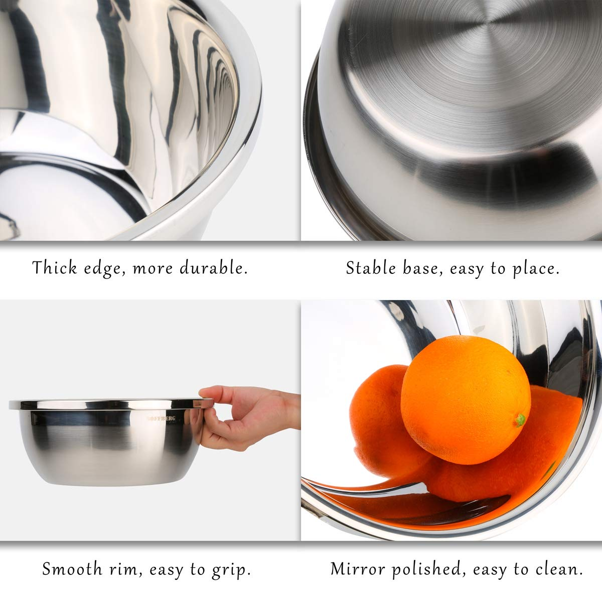 Set of 6 Mixing Bowls Stainless Steel Nesting and Convenient Storage for Meal prep, Salad, Cooking, Baking, Serving by SOFFBERG (Image #3)