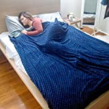 Zleepy Weighted Blanket by (18lb -60' x 80') Gravity Blanket for Adults & Kids – Includes Soft Fluffy Minky Warm Comforter Cover (Washable/Removable) Relieves Anxiety Stress Insomnia (Grey & Blue)