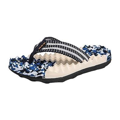 Qimaoo Herren Zehentrenner Massage Badeschuhe Schlappen Strandshuhe Hausschuhe Sommer Freizeit Sandalen Flip Flops