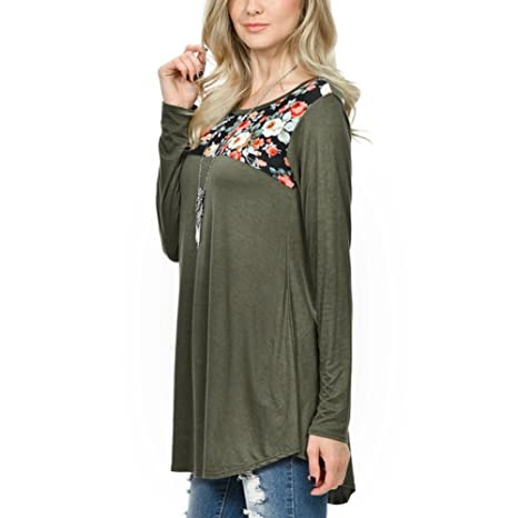 Toimoth Women Casual Floral Printed Patchwork Tops Blouse at Amazon Womens Clothing store: