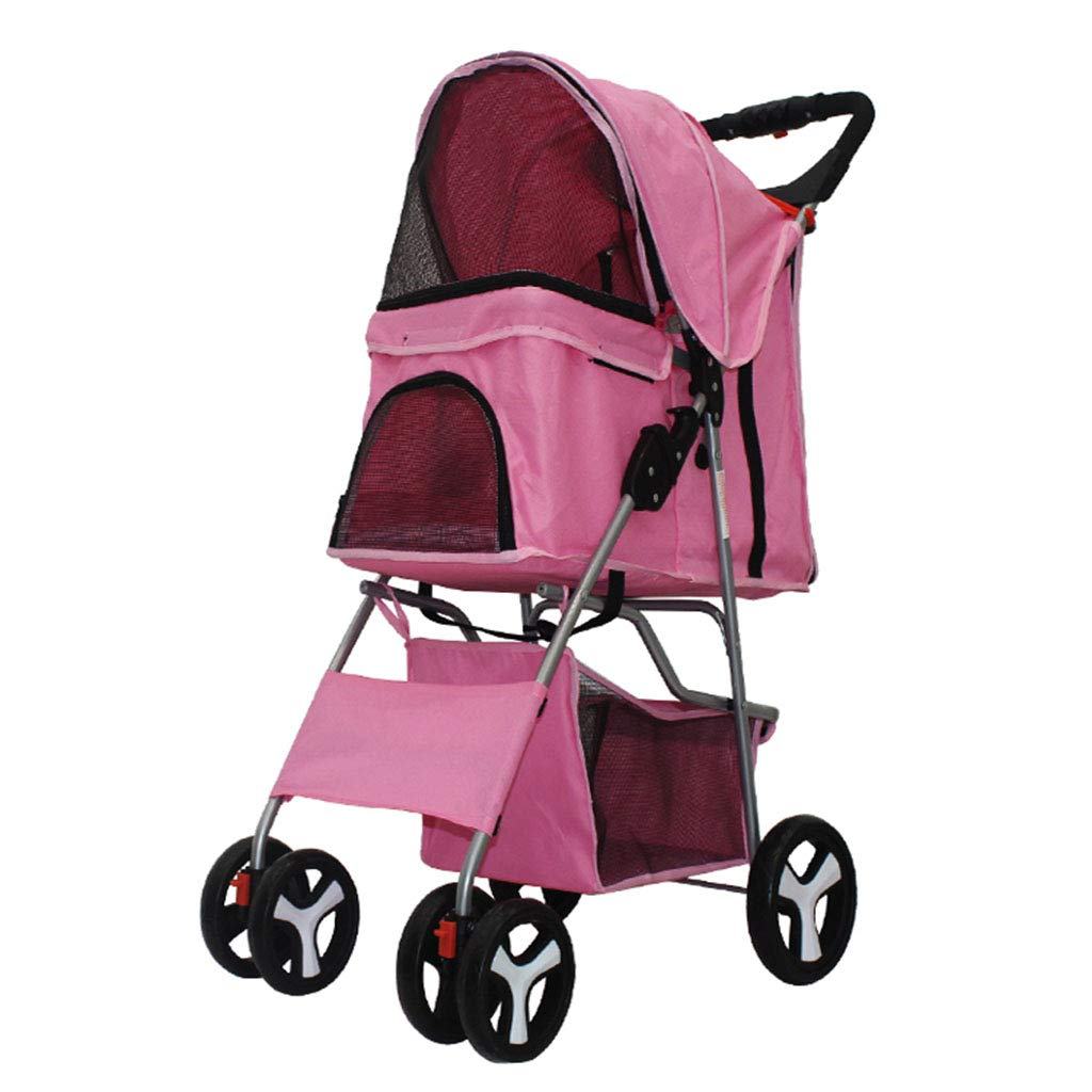 Pink Pet Stroller Travel Pet Jogger, Pet Roadster Stainless Frame, Pet Travel Stroller Big Wheel Strong Load Bearing Capacity, Disabled Dog Pushchair Safe and Comfort for Dogs and Cats,Pink