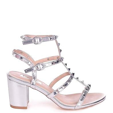 6d6c1a07928 Linzi Tessa - Silver Studded Block Heeled Sandal  Amazon.co.uk  Shoes   Bags