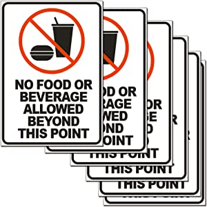 No Food or Beverage Allowed Beyond This Point Sticker Sign 6 Set 10 X 7 Inch 5 Mil Vinyl Laminated for Ultimate Protection Durability Self Adhesive Decal UV Protected Weatherproof (D)