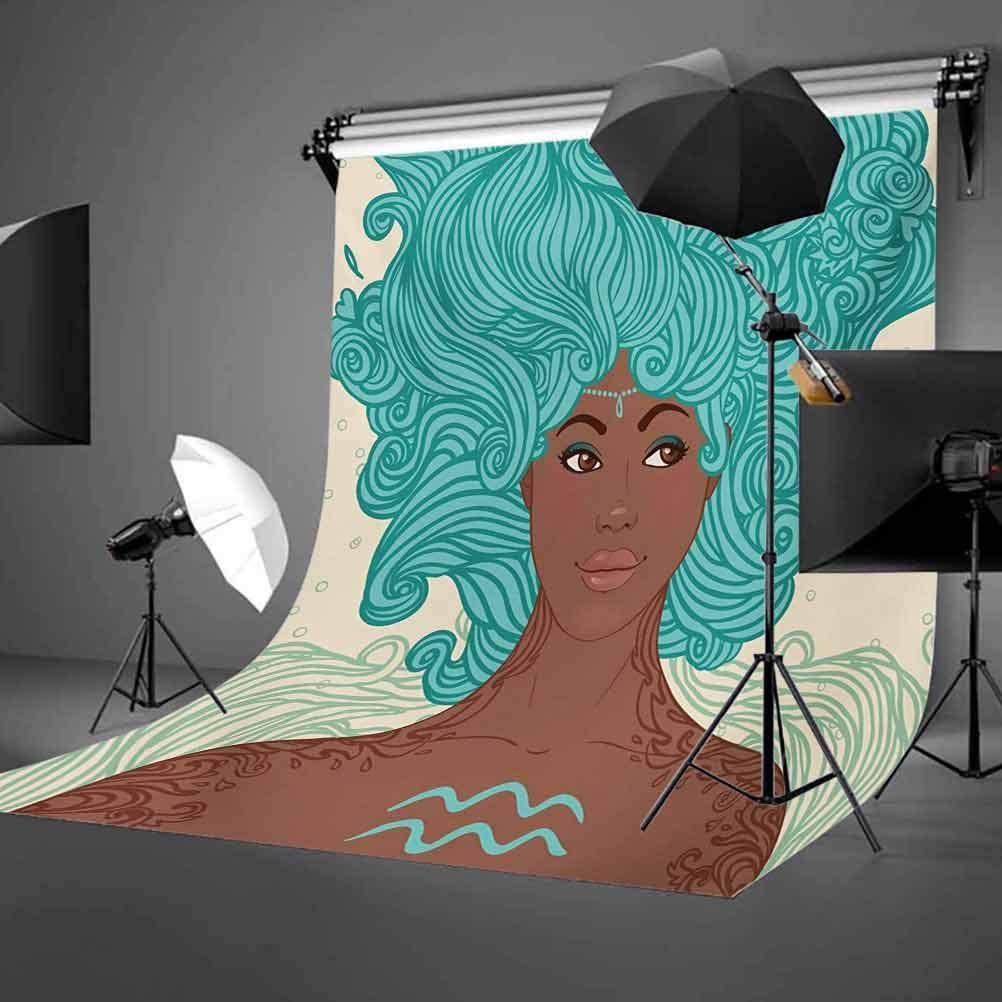 Lady Beauty Girl Fantasy Portrait Tribal Portrait Background for Baby Birthday Party Wedding Vinyl Studio Props Photography Pale Green Teal Brown Zodiac Aquarius 10x12 FT Photography Backdrop