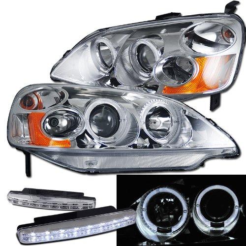Honda Civic Dual Halo Projector Headlights + 8 Led Fog Bumper Light