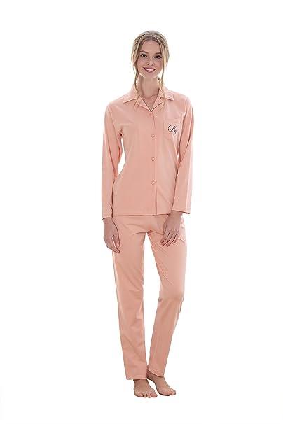 Marster Fashions - Pijama - Cuello Redondo - Manga Corta - para Mujer Rosa XL