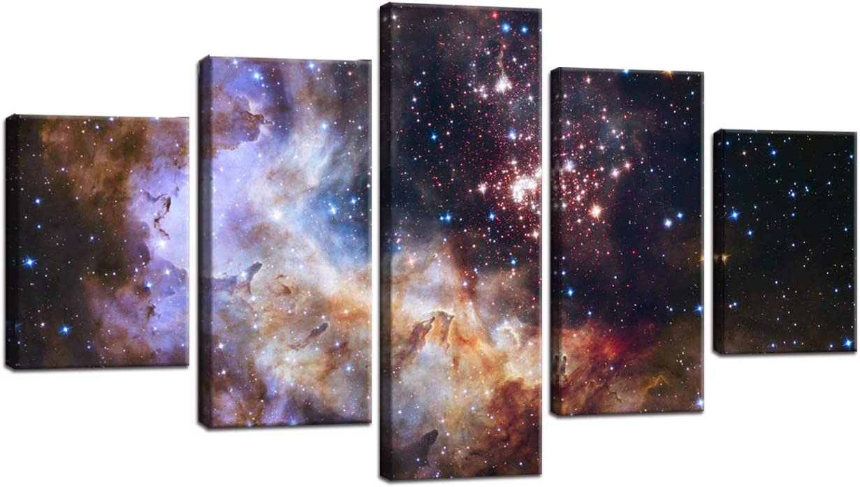 Amazon Com Large Colorful Galaxy Painting On Canvas Nebula Modern Starry Wall Art Cosmic Cloud Hd Print 5 Pcs Picture Posters And Prints For Living Room Giclee Artwork Framed Stretched Ready To Hang 60 Wx32 H
