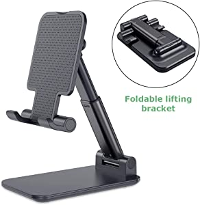 Esonstyle Cell Phone Stand Tablet Stand Foldable Portable Desktop Stand Adjustable Height and Angle Phone Holder for Desk Sturdy Aluminum Metal Stand Compatible with iPhone 11 Pro XS Max XR X Samsung