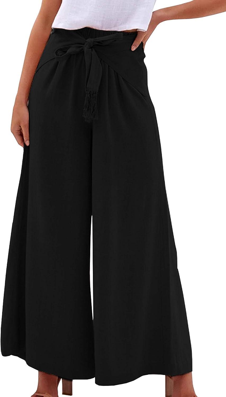 NewPinky Fashion New 2019 Trousers Stitching Stripe Love Wide Leg Pants Split High Waist Pants Loose Trousers