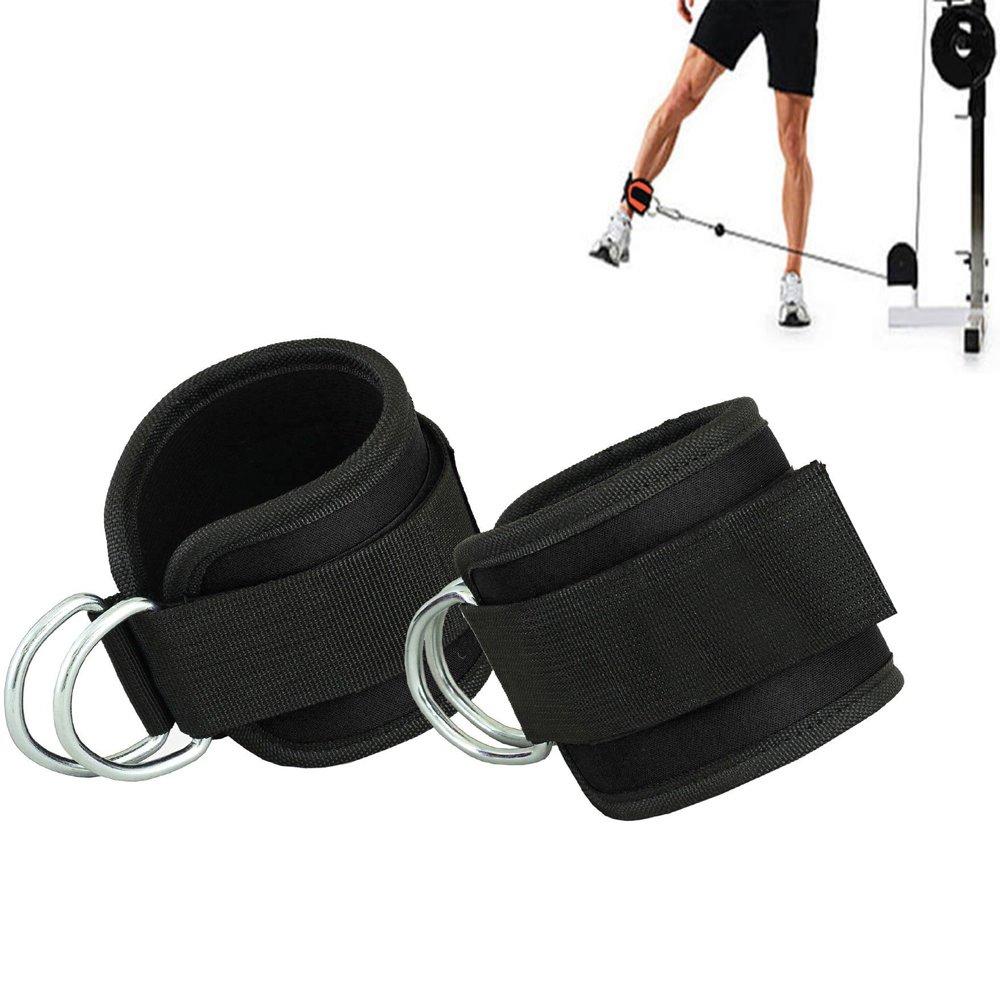 Grofitness Correas ajustables para los tobillos con doble anilla en D, correa para muñecas y piernas de peso, para fijar máquina de cable, 1 par, negro