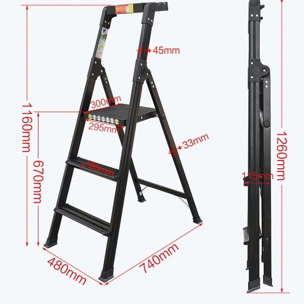 XiuHUa Escaleras Plegables Bandeja Superior for Herramientas Escalera Ancha Aleación de Aluminio Escalera de ingeniería doméstica de Tres Pasos, Plata, Negro Taburete (Color : Black): Amazon.es: Hogar