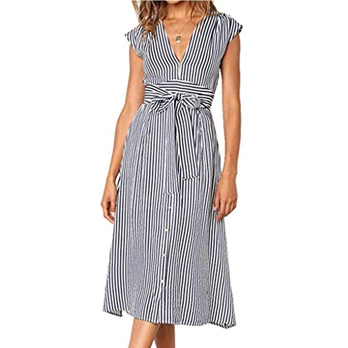 6765a97f35 Image Unavailable. Image not available for. Color: INIBUD Midi Dress for  Women Summer Retro Striped Button Down ...